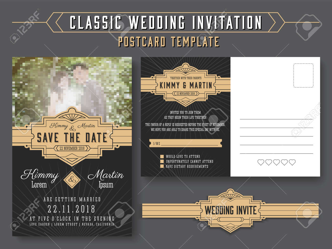 Classic Vintage Wedding Invitation Card Design, Suitable For ...