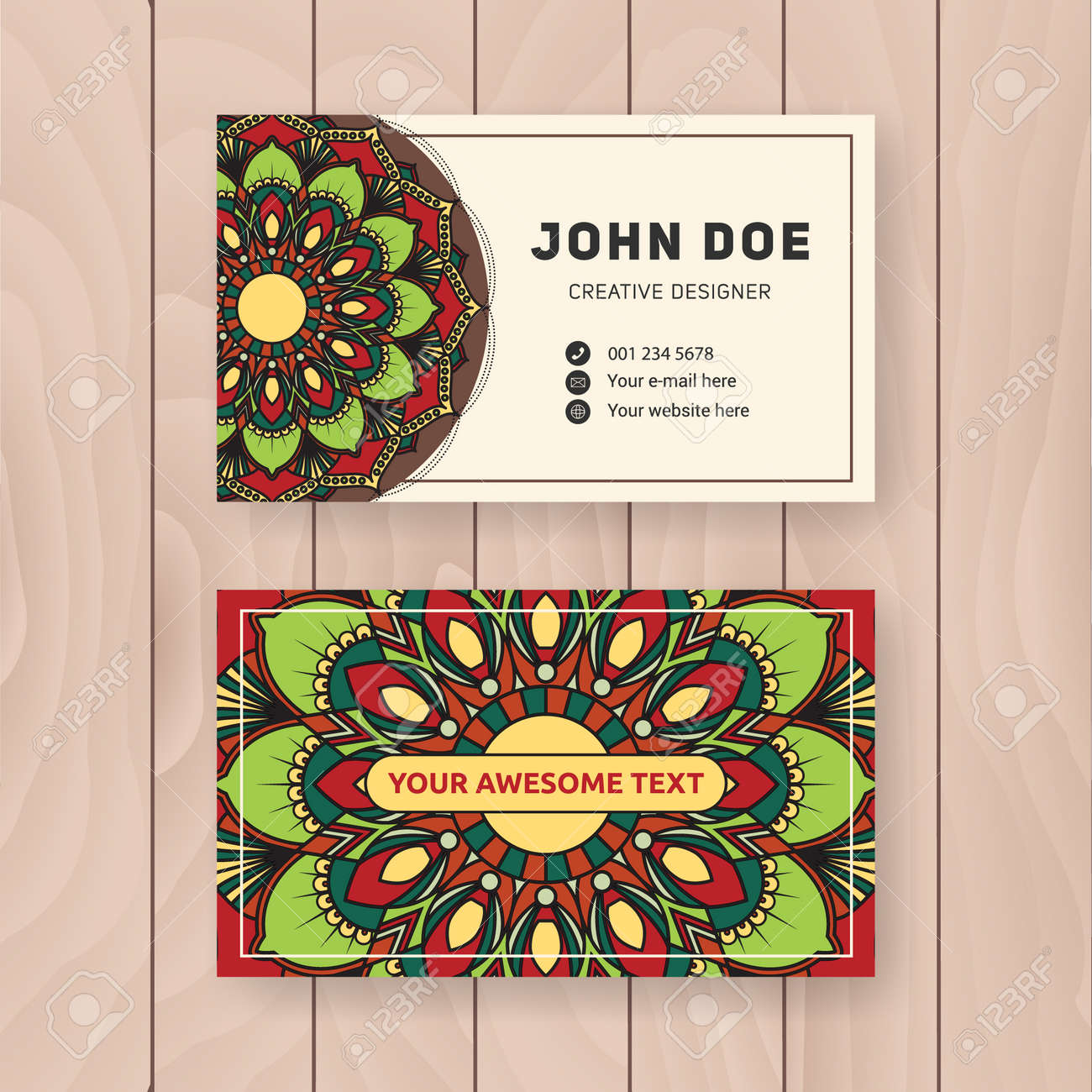 Creative useful business name card design vintage colored mandala creative useful business name card design vintage colored mandala design for personal name card reheart Gallery