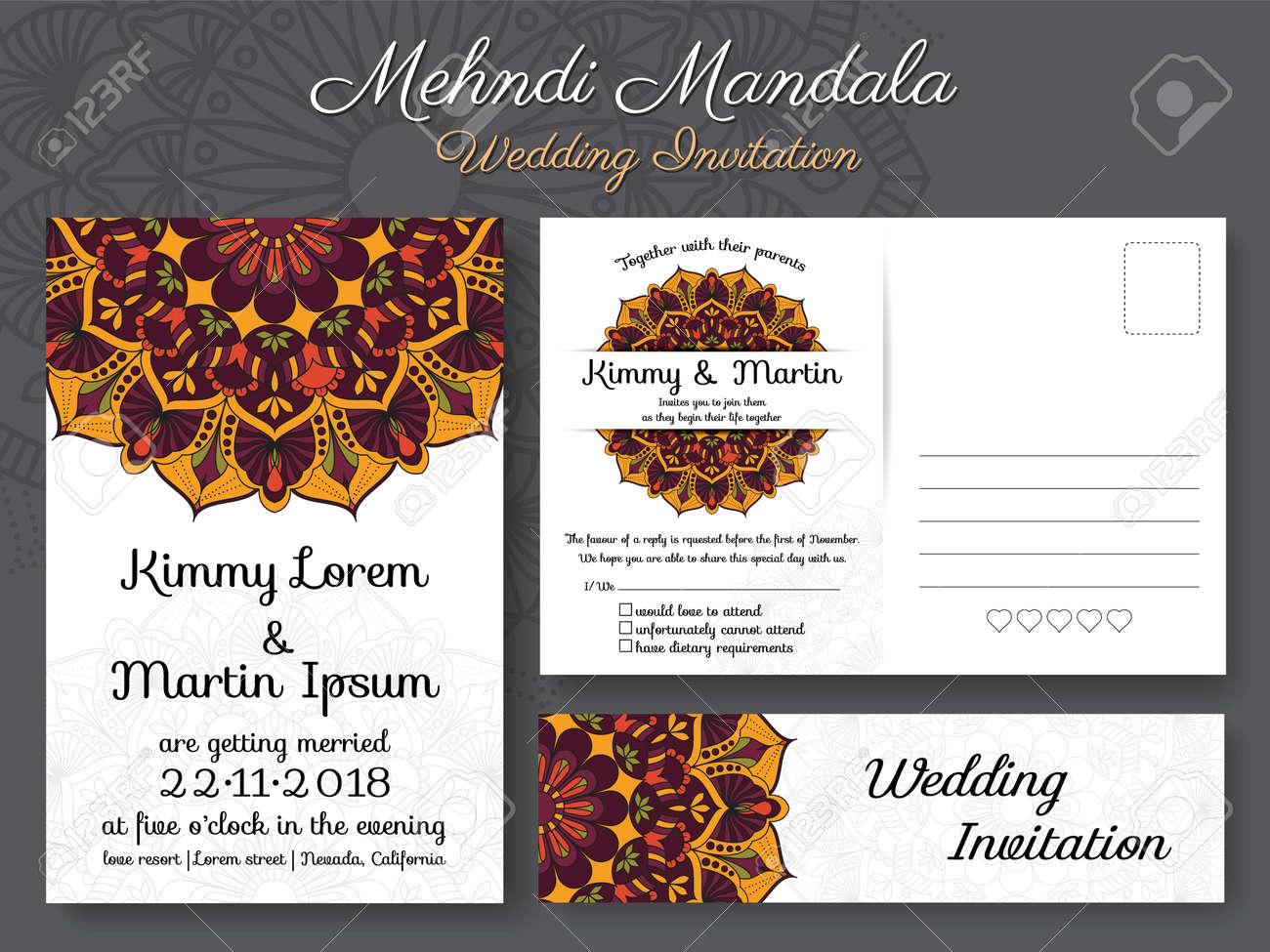 Classic vintage wedding invitation card design with beautiful classic vintage wedding invitation card design with beautiful mandala flower suitable for both traditional and stopboris Image collections