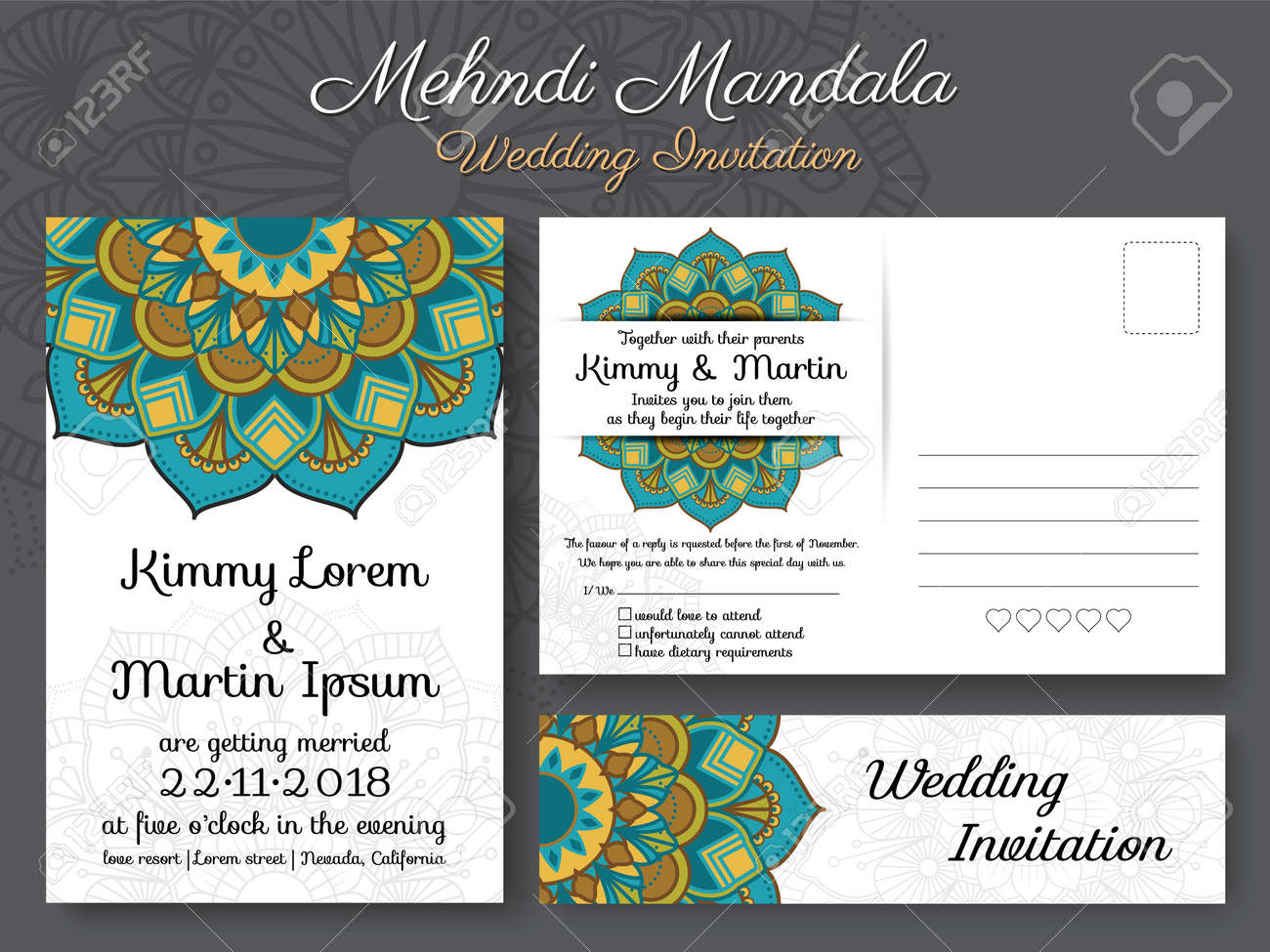 Classic Vintage Wedding Invitation Card Design With Beautiful ...