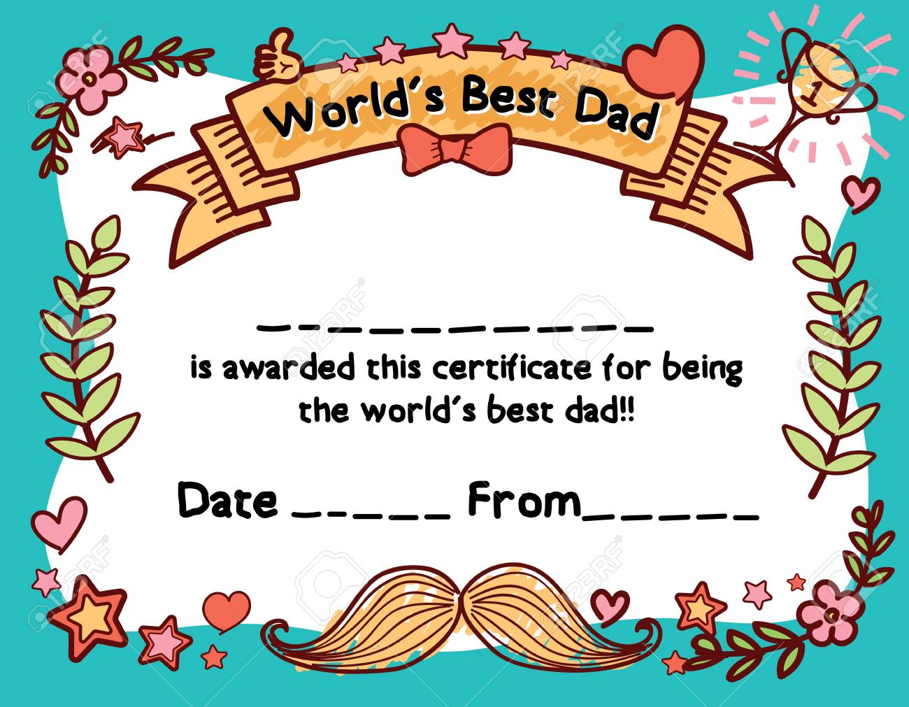 Worlds best dad award certificate template for fathers day vector worlds best dad award certificate template for fathers day hand draw yelopaper Images