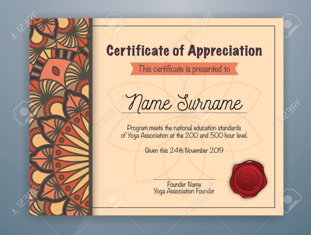 Brown mandala bordered certificate of appreciation template design brown mandala bordered certificate of appreciation template design for yoga class vector illustration stock vector yadclub Gallery