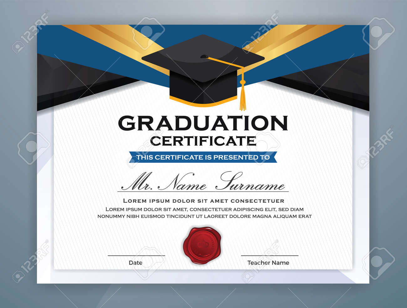High School Diploma Certificate Template Design With Graduate