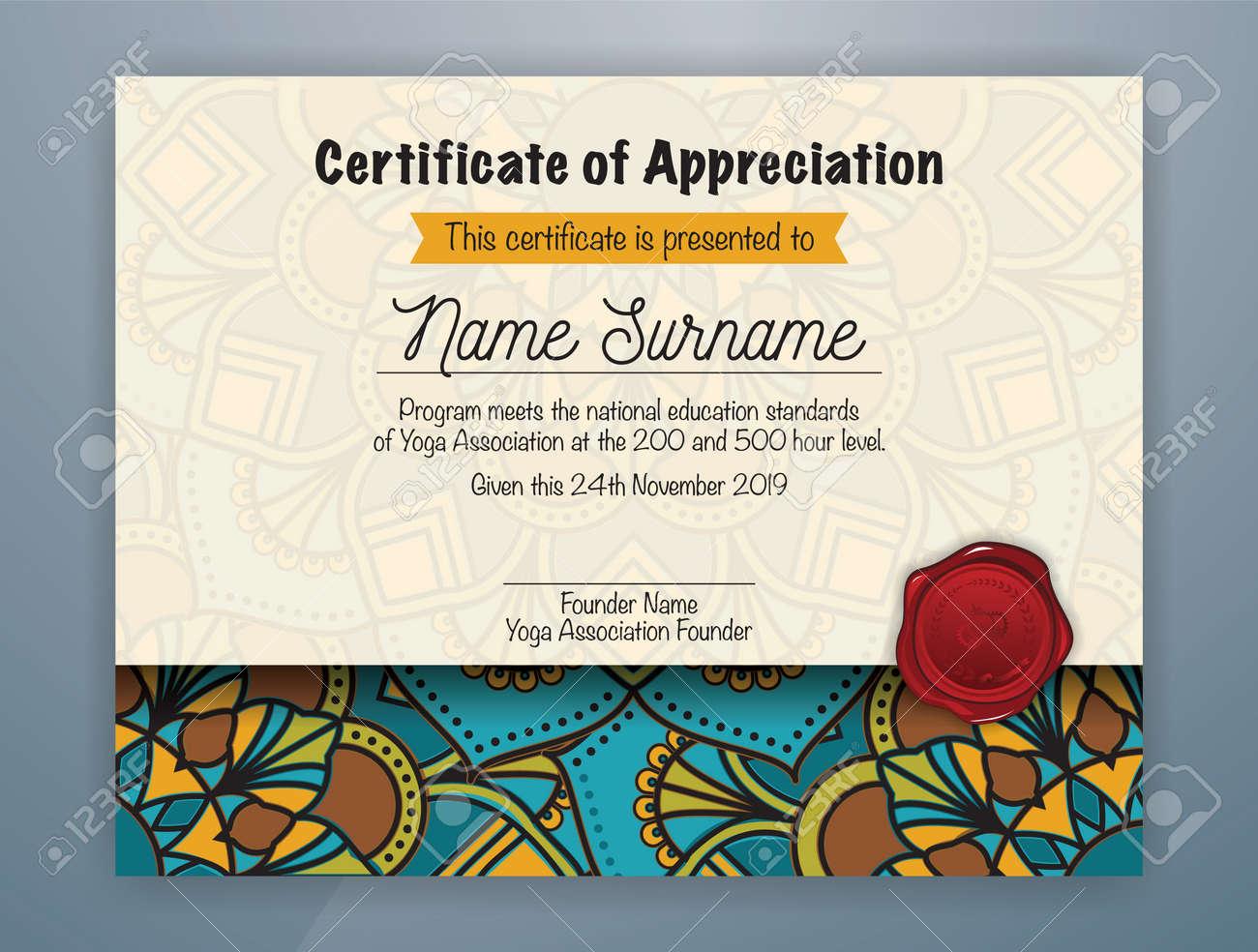 Mandala bordered certificate of appreciation template design mandala bordered certificate of appreciation template design for yoga class vector illustration stock vector m4hsunfo