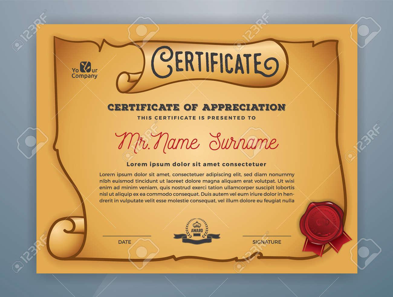 Multipurpose Ancient Certificate Template Design For Print Vector