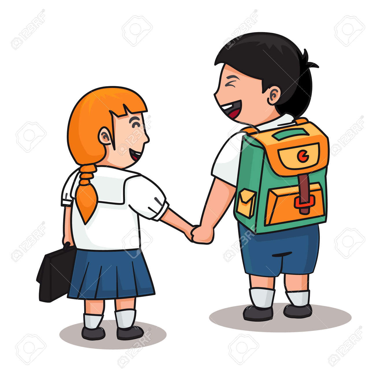 2 students in uniform hold them hands together. vector illustration
