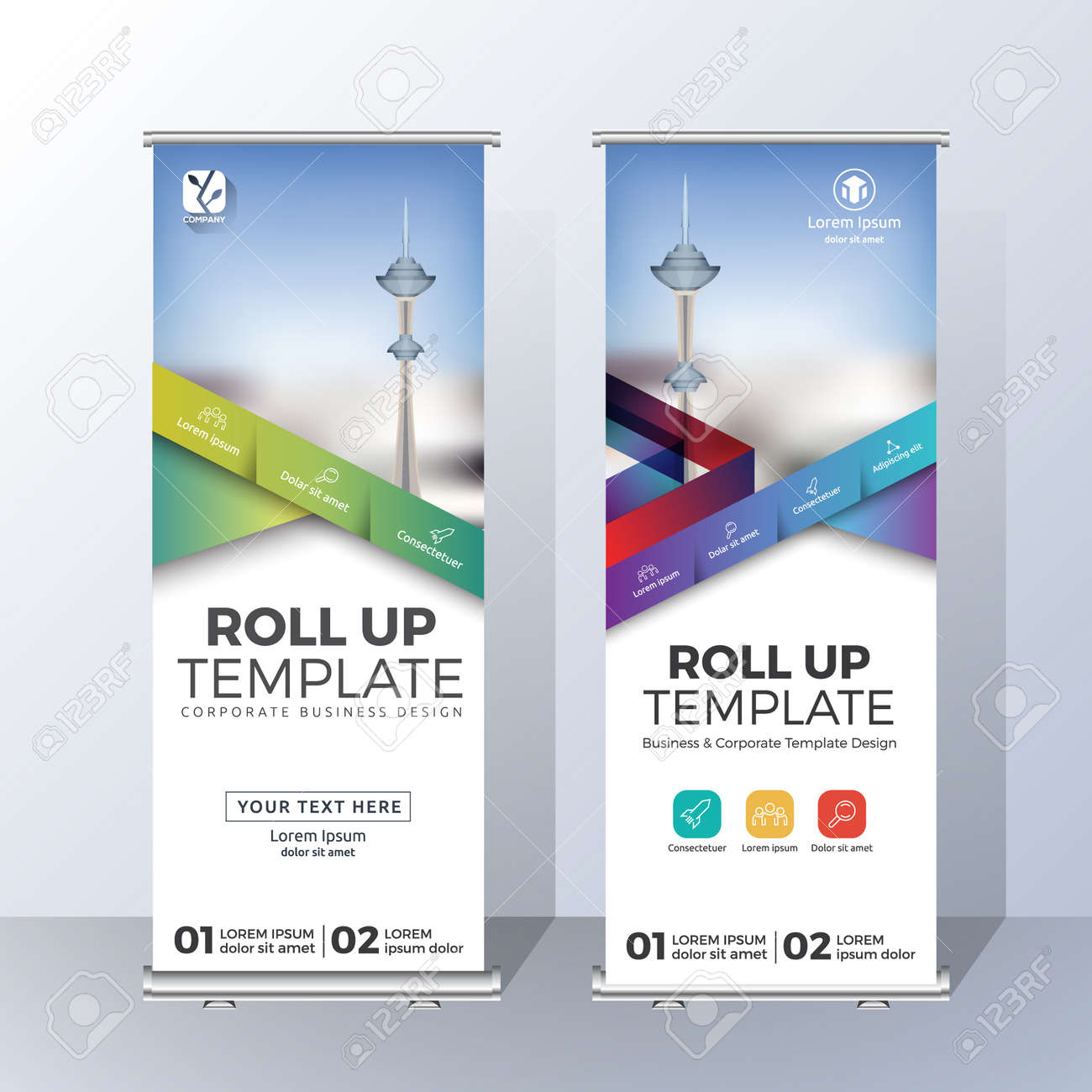 Vertical Roll Up Banner Template Design for Announce and Advertising. Vector illustration - 87984684