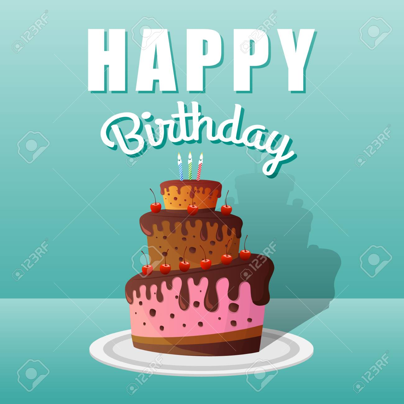 Happy Birthday Greeting Cards Design With Chocolate Cakes And Candles Vector Illustration Stock