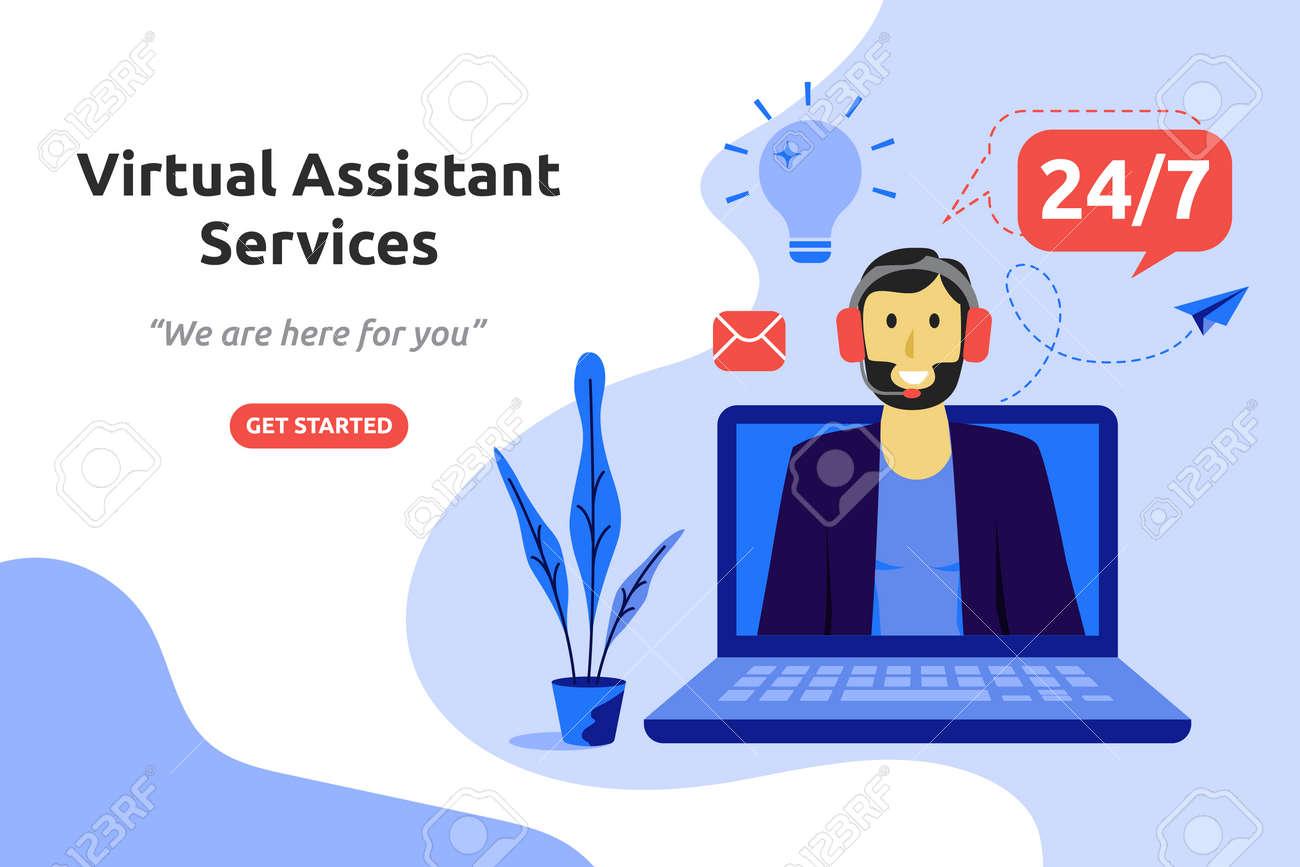 Online virtual assistant services concept modern flat design. Vector illustration - 110894744