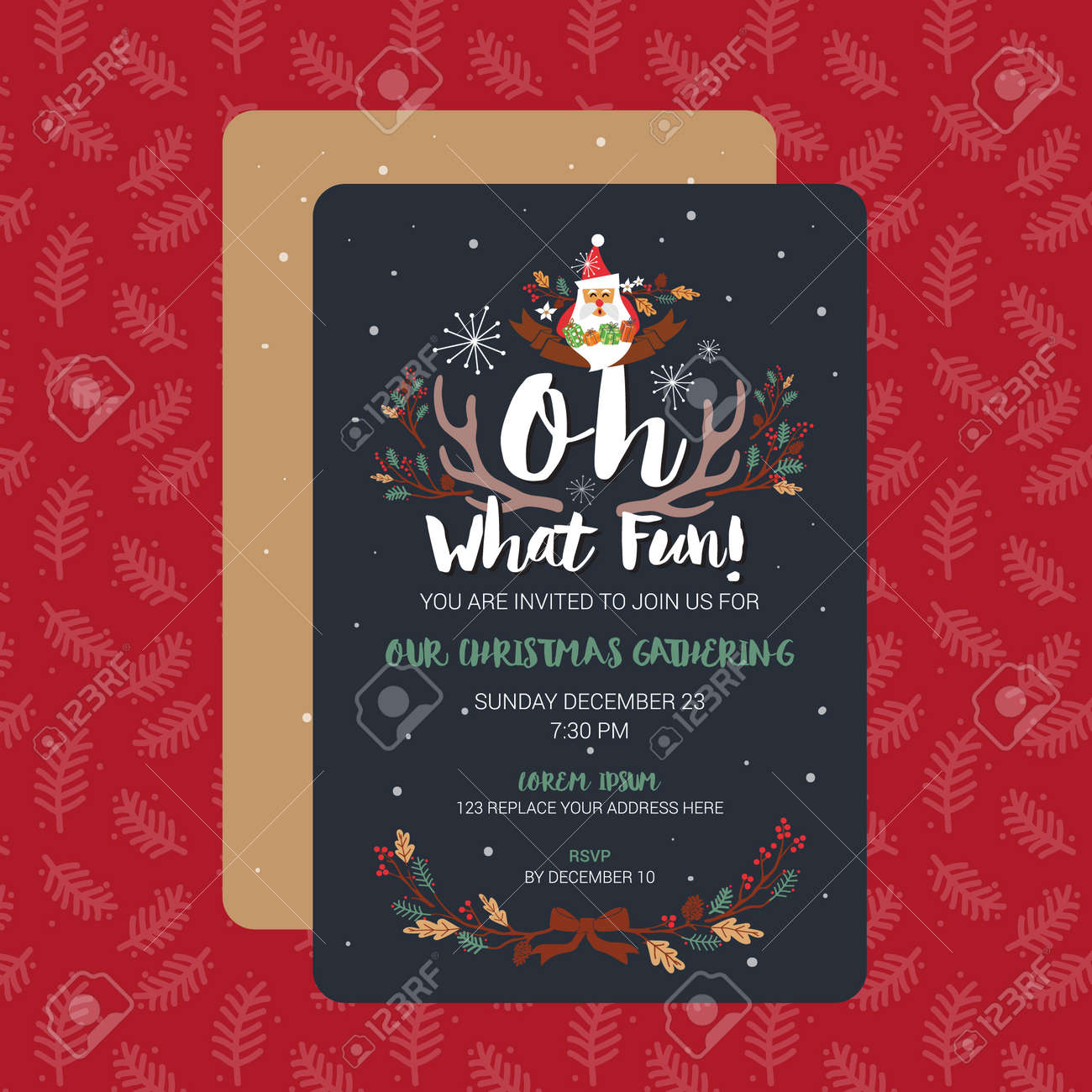 Oh What Fun Christmas Party Invitation Card Template Vector