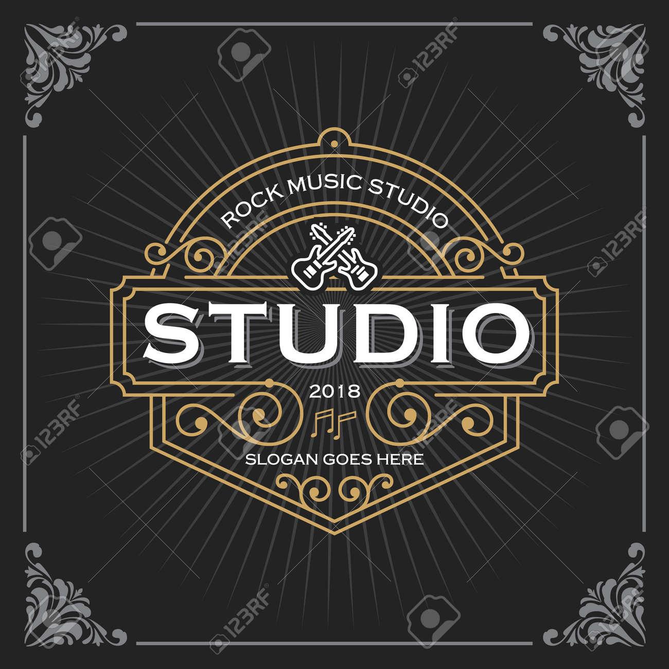 Music studio logo. Vintage Luxury Banner Template Design for Label, Frame, Product Tags. Retro Emblem Design. Vector illustration - 129716527