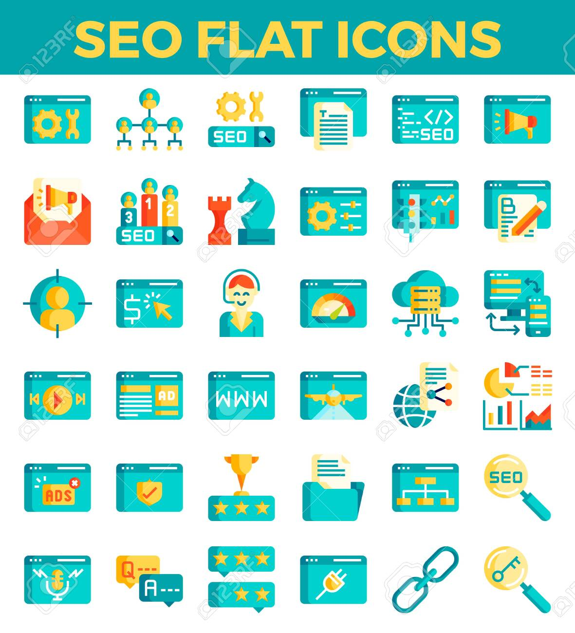 SEO Search engine optimisation flat icons  Vector illustration