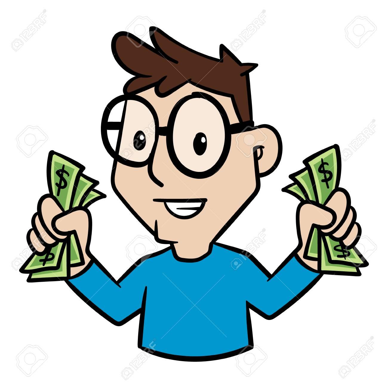 cartoon person holding cash money vector illustration royalty free rh 123rf com make money clipart Education Clip Art