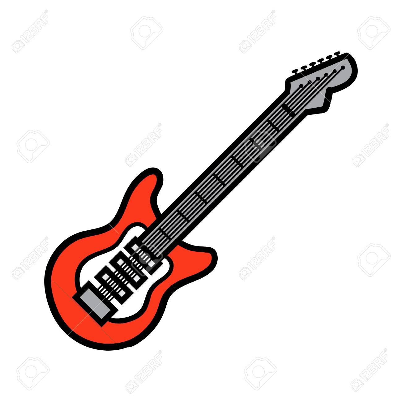Ilustración De Vector De Guitarra Eléctrica De Dibujos Animados