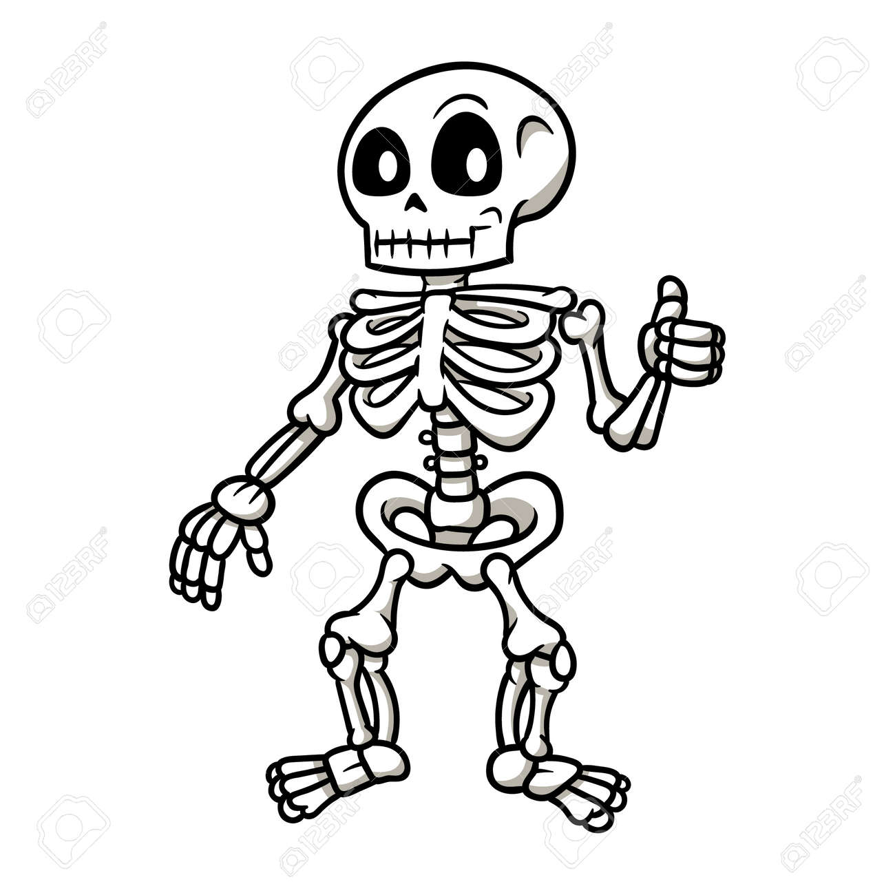 Cartoon Skeleton Giving a Thumbs Up Vector Illustration - 71765873