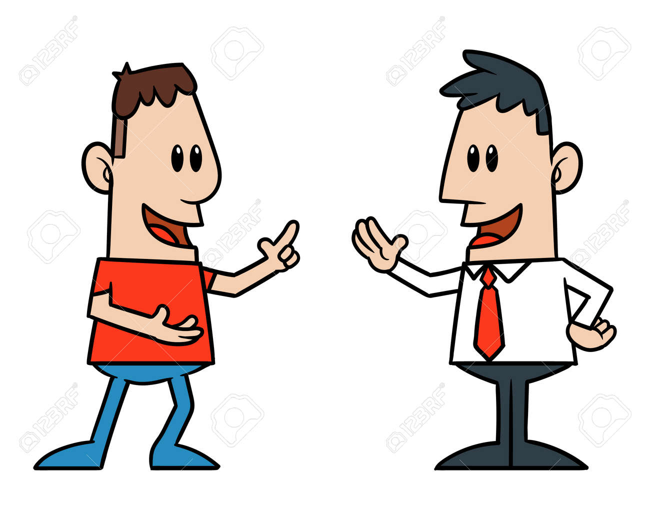 two cartoon men talking royalty free cliparts vectors and stock rh 123rf com