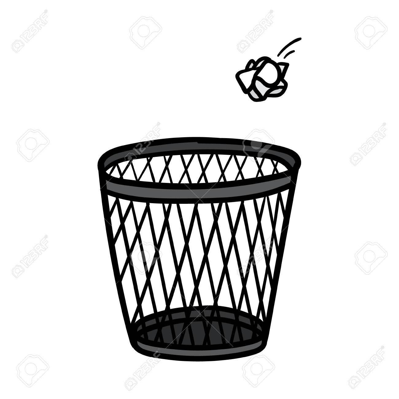 cartoon crumpled paper and trash can vector illustration royalty