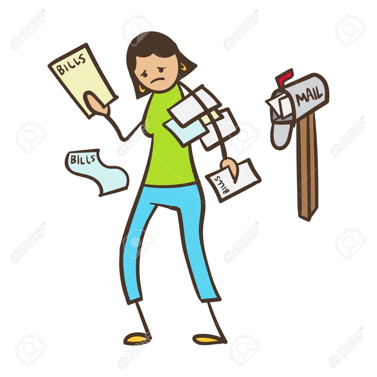 Cartoon Strichmännchen Frau Mit Rechnungen In Der Post Lizenzfrei