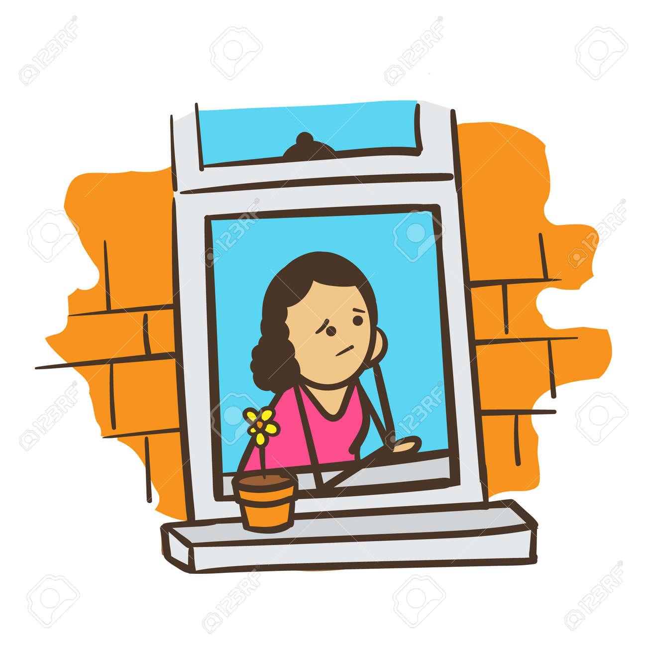 Cartoon Strichmännchen Frau Sorgen Oder Tagträumen Lizenzfrei