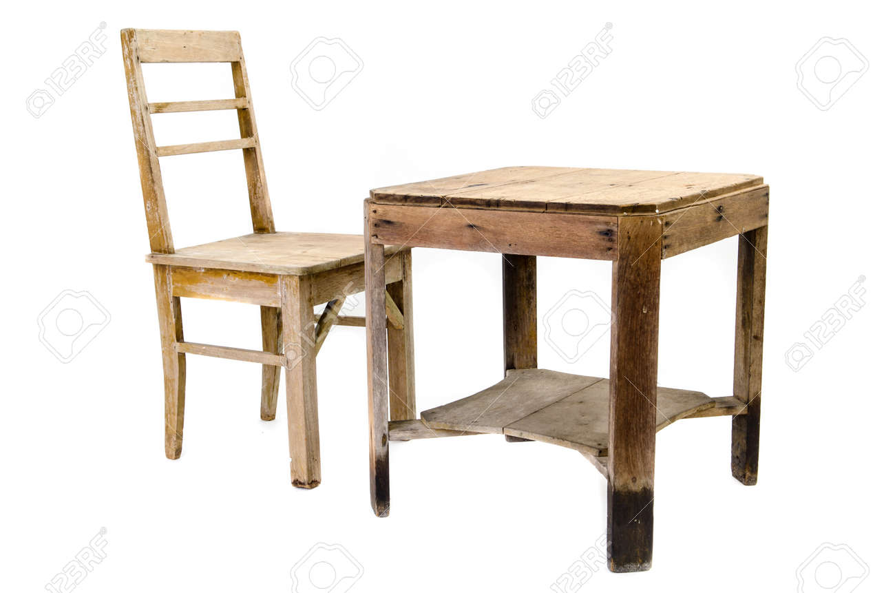 Old Wooden Chair And Table Isolated On White Background Stock Photo