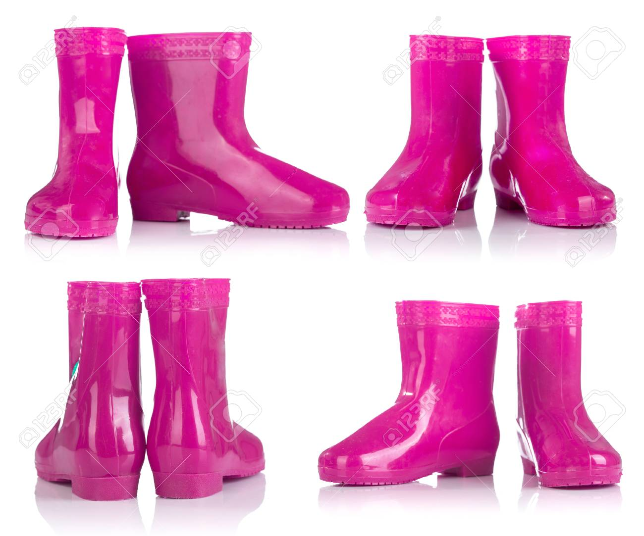 Pink Rubber Boots For Kids Isolated