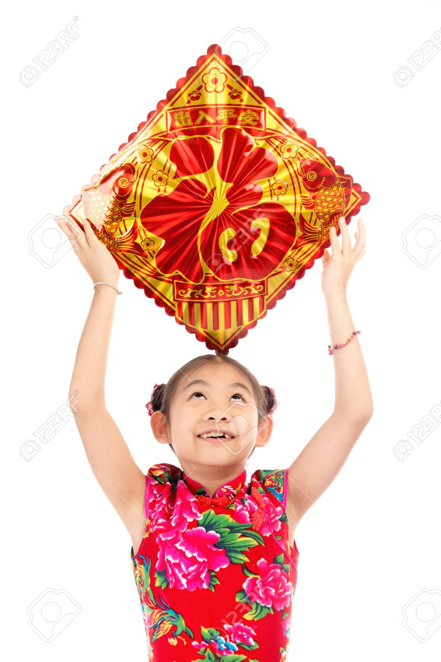 Little asian cute girl showing chinese new year greetings isolate little asian cute girl showing chinese new year greetings isolate on white backgroundan english kristyandbryce Image collections
