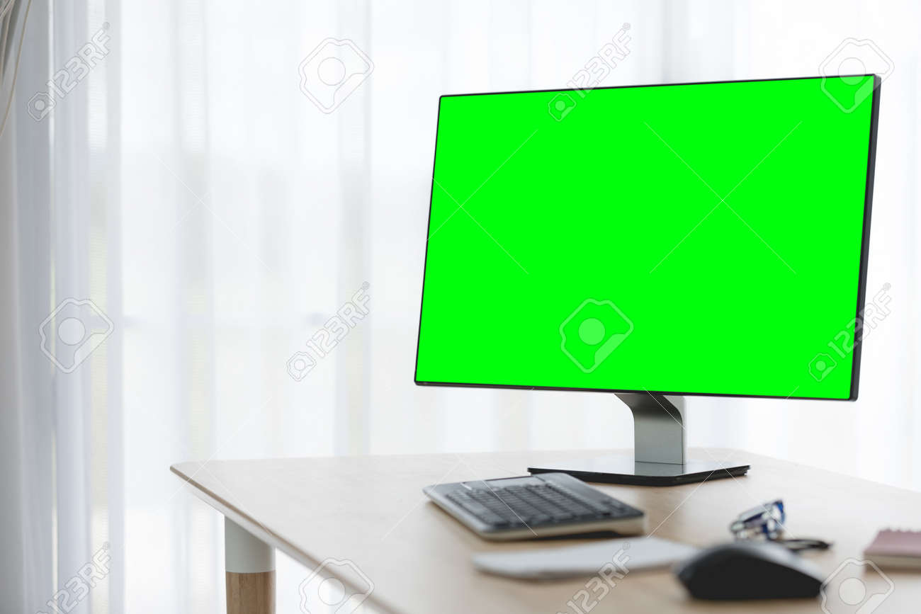 Workspace Background With Desktop Pc And Office Accessories On