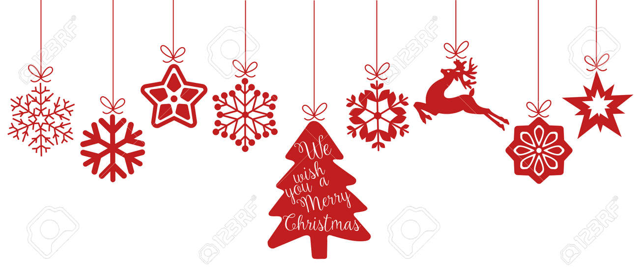 Merry Christmas. Christmas elements hanging red line isolated background. - 50264732