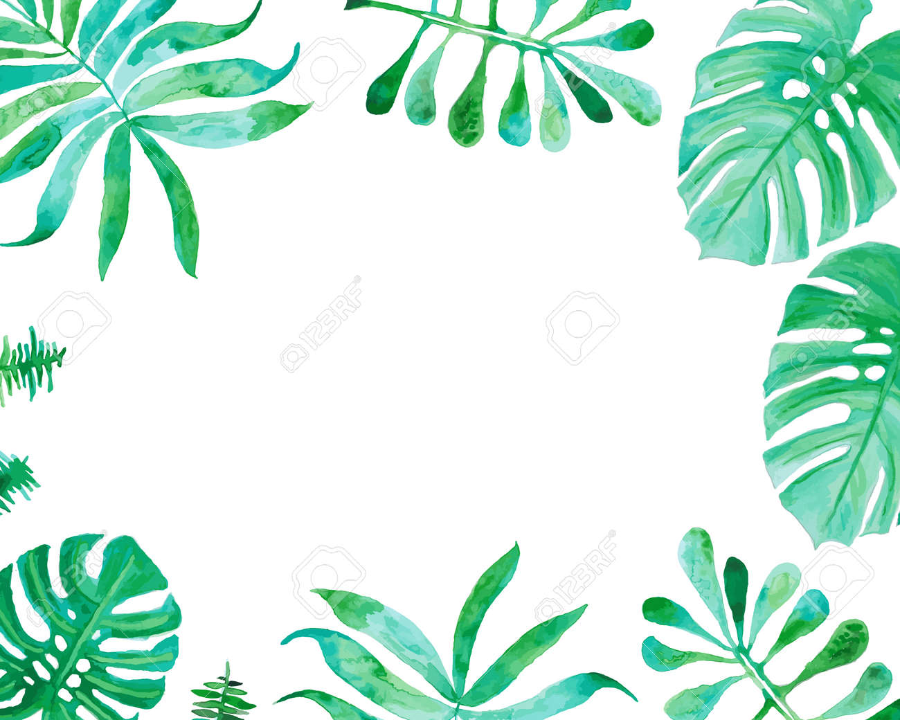 Watercolor Drawing Palm Trees Or Green Leaves Royalty Free Cliparts Vectors And Stock Illustration Image 56875344