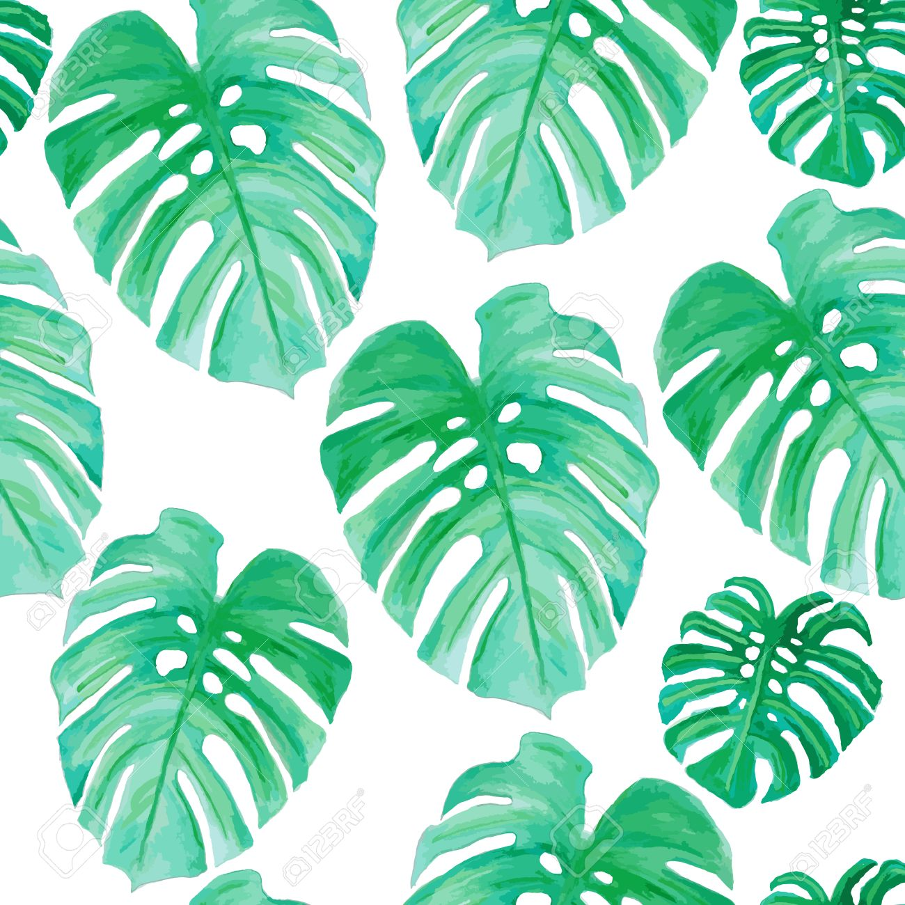 Watercolor Drawing Palm Trees Or Green Leaves Seamless Pattern Royalty Free Cliparts Vectors And Stock Illustration Image 56875351