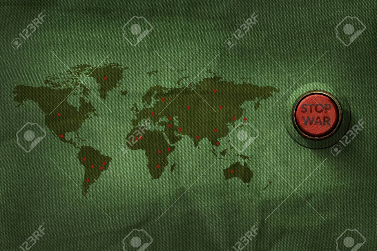 Stop war concept button to push on world map military fabric stock photo stop war concept button to push on world map military fabric texture background gumiabroncs Gallery