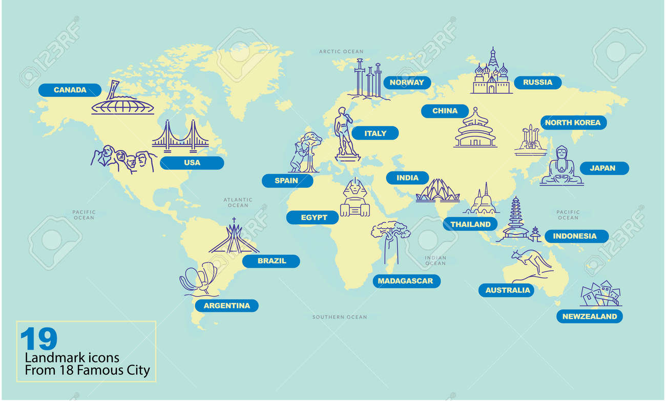 Australia Map Landmarks.World Map With Famous Country Landmark Symbol