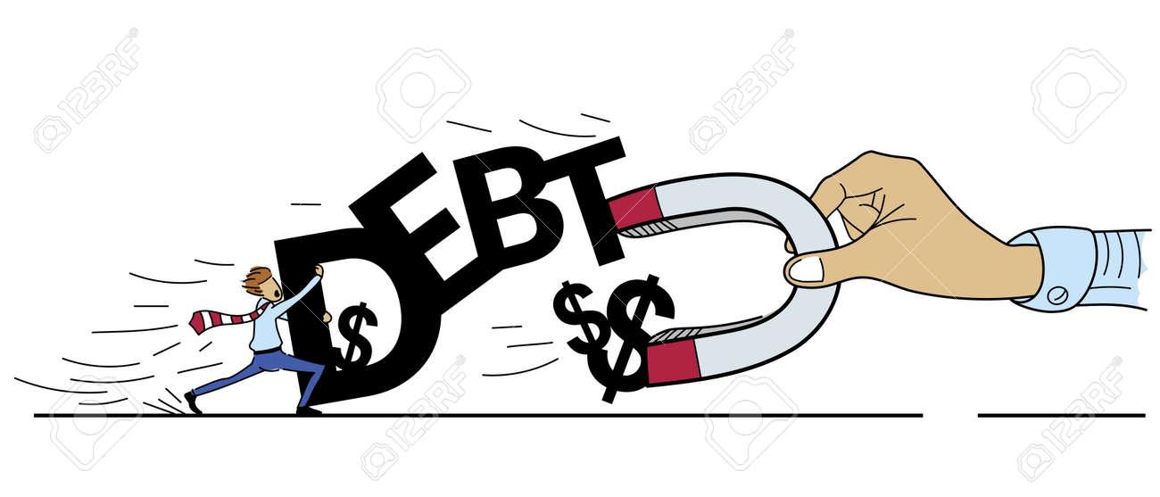 手の債権者から債務者、漫画の描画スタイルを集めてお金に磁石を用いた ...