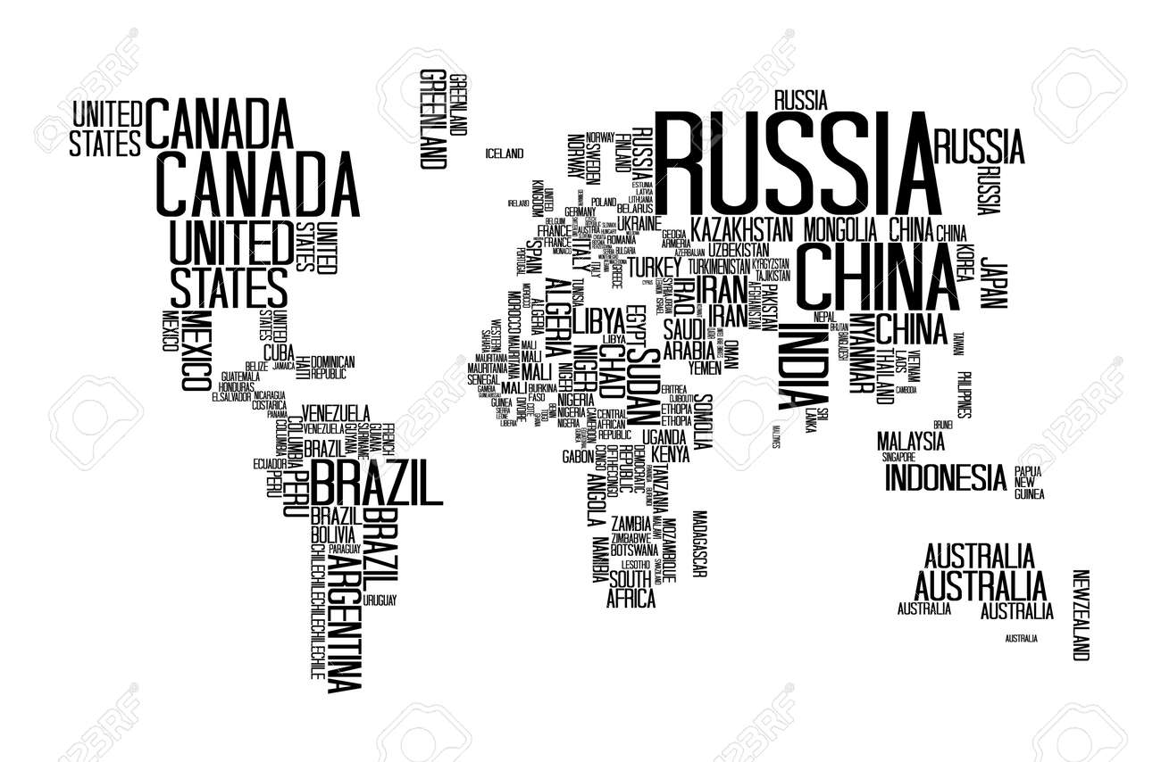 World map with countries name text or typography royalty free vector world map with countries name text or typography gumiabroncs Image collections
