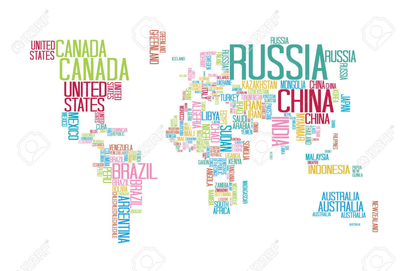 World map with countries name text or typography with colorful vector world map with countries name text or typography with colorful color separate by country gumiabroncs Image collections
