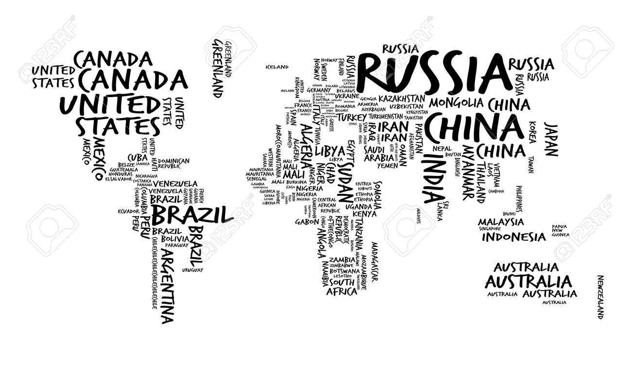 World Map With Countries Name Text Or Typography Hand Drawn