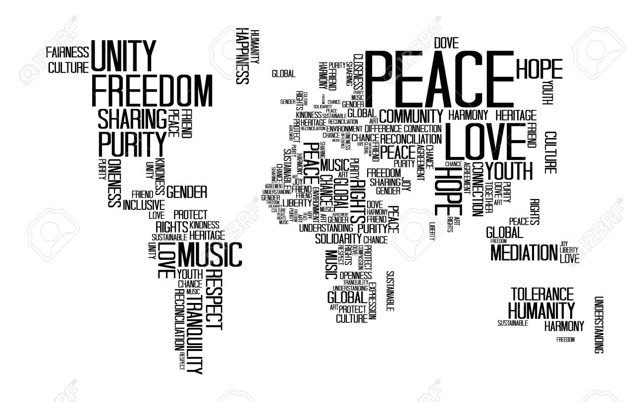 Peace concept text or typography with love happiness and peace peace concept text or typography with love happiness and peace wording in world map gumiabroncs Gallery