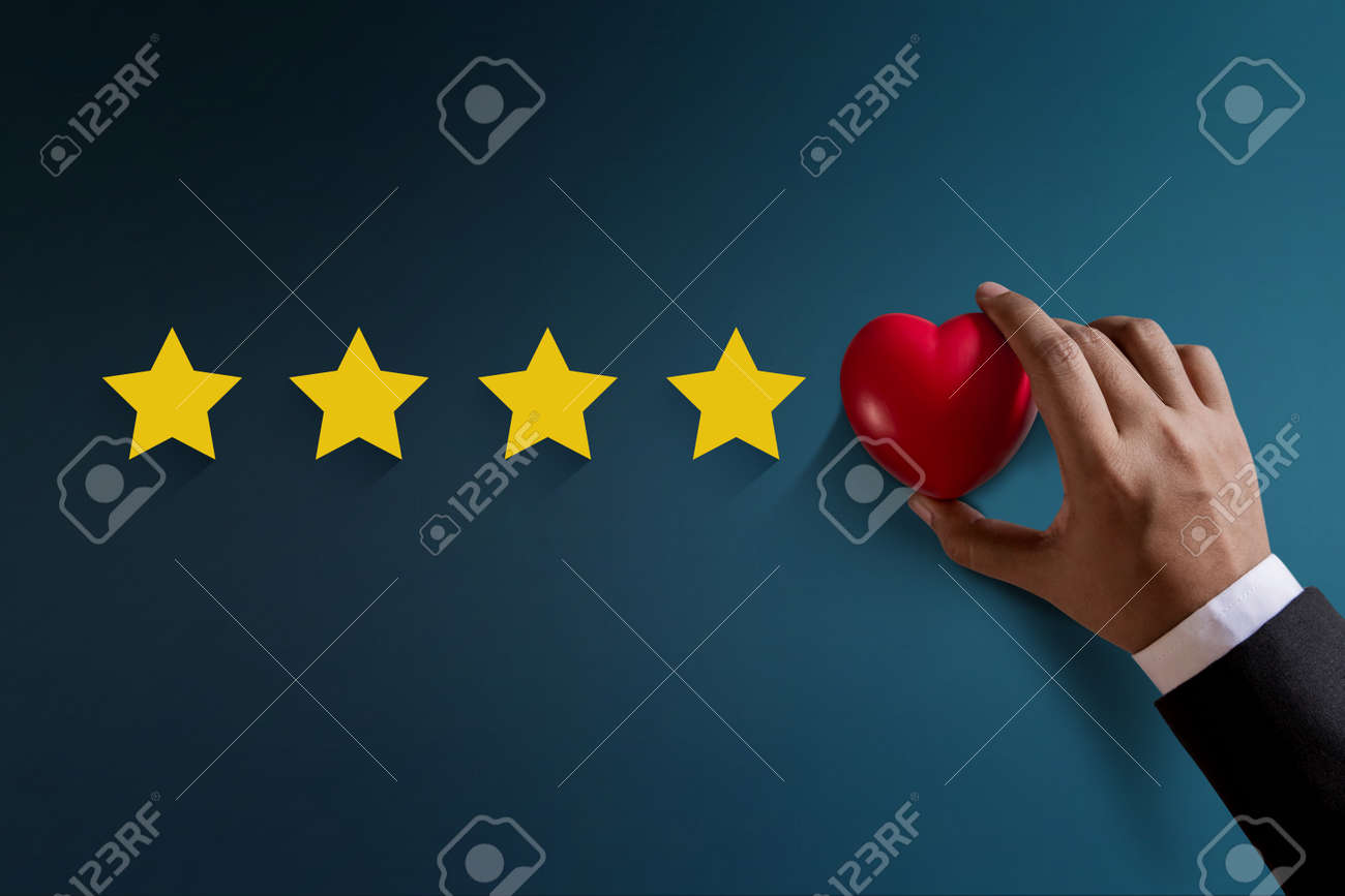 Customer Experience Concept Best Excellent Services Rating For Satisfaction Present By Hand Of Happy Client