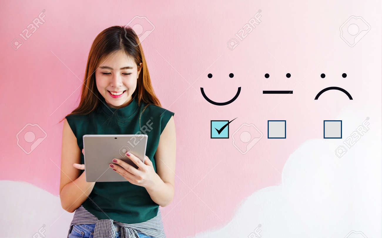 Customer Experience Concept Happy Client Woman Holding Digital Tablet With A Checked Box On Excellent