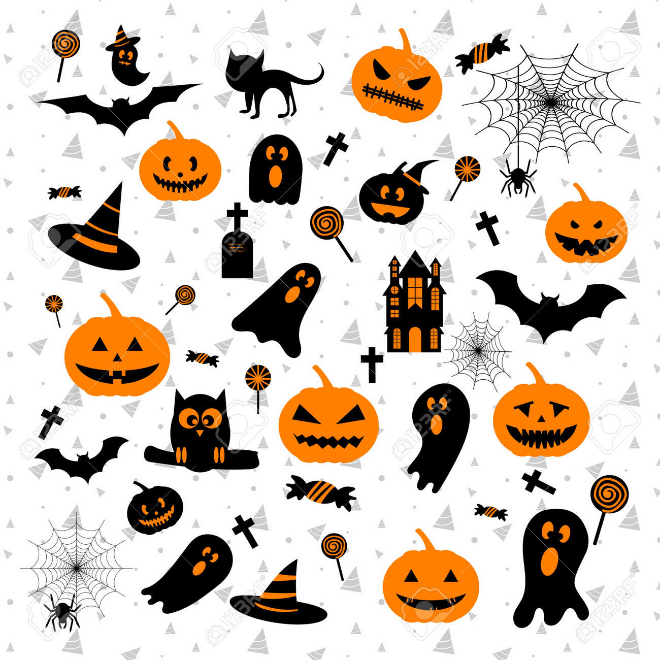 Léments De Conception De Halloween Heureux Avec Citrouille Fantôme Château Chauve Souris Chapeau Toile D Araignée Pour Carte De Voeux Affiche