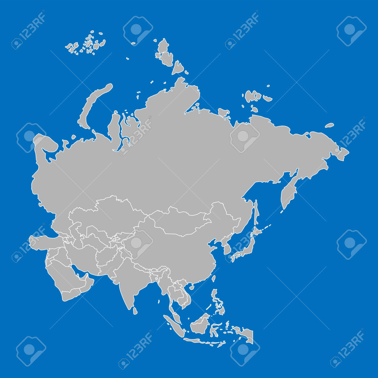 Map Of Asia With Capital Cities.Grey Asia Map With Countries And Capital Cities On The Blue Background