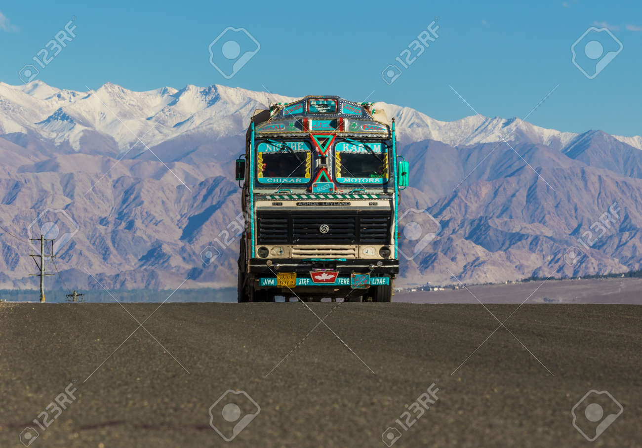 Ladakh, Jammu & Kashmir - India - along the Indus Valley, right at the border with Pakistan and China, between monasteries, mountains, rivers, lakes, and blue skies - 103138227