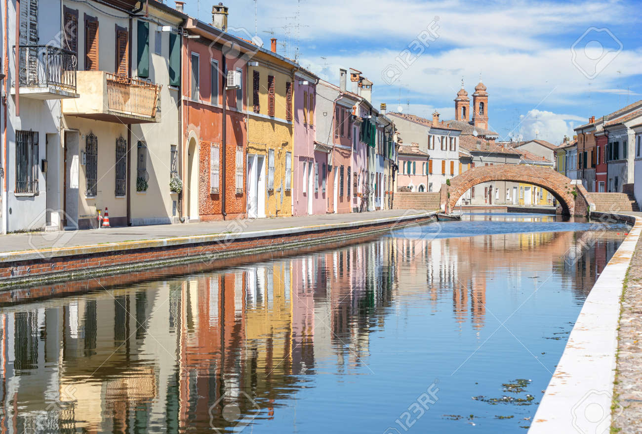 Comacchio, Italy - often compared to Venice for the canals and the architecture, Comacchio displays one of the most characteristic old towns in Emilia Romagna - 170490640