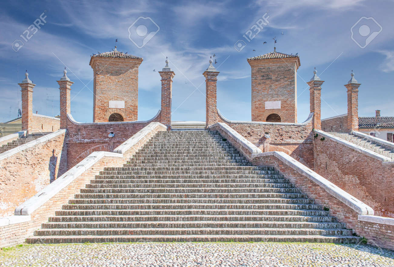 Comacchio, Italy - often compared to Venice for the canals and the architecture, Comacchio displays one of the most characteristic old towns in Emilia Romagna - 170490644