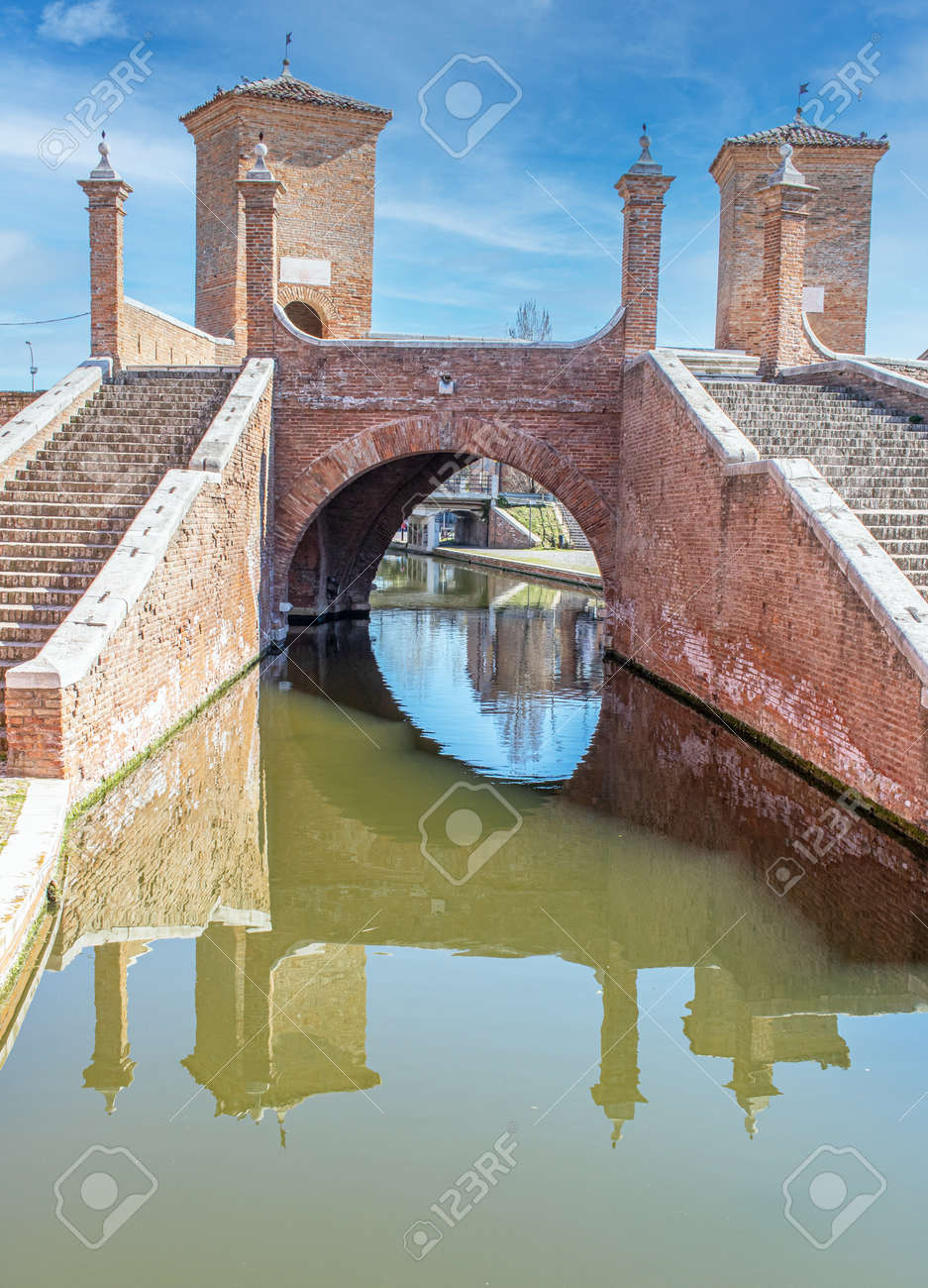 Comacchio, Italy - often compared to Venice for the canals and the architecture, Comacchio displays one of the most characteristic old towns in Emilia Romagna - 170448991