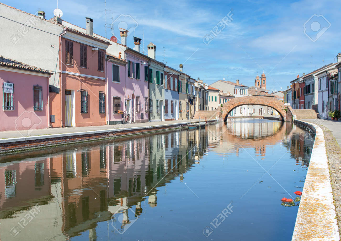 Comacchio, Italy - often compared to Venice for the canals and the architecture, Comacchio displays one of the most characteristic old towns in Emilia Romagna - 170448992