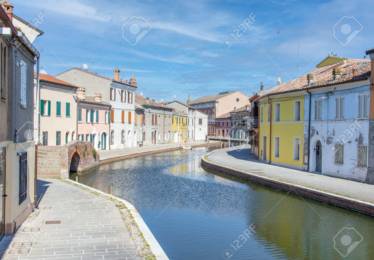 Comacchio, Italy - often compared to Venice for the canals and the architecture, Comacchio displays one of the most characteristic old towns in Emilia Romagna - 170449001