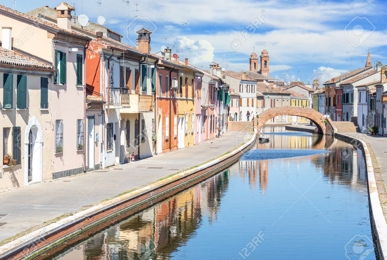 Comacchio, Italy - often compared to Venice for the canals and the architecture, Comacchio displays one of the most characteristic old towns in Emilia Romagna - 170449002
