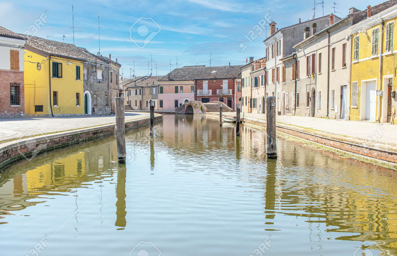 Comacchio, Italy - often compared to Venice for the canals and the architecture, Comacchio displays one of the most characteristic old towns in Emilia Romagna - 170449073