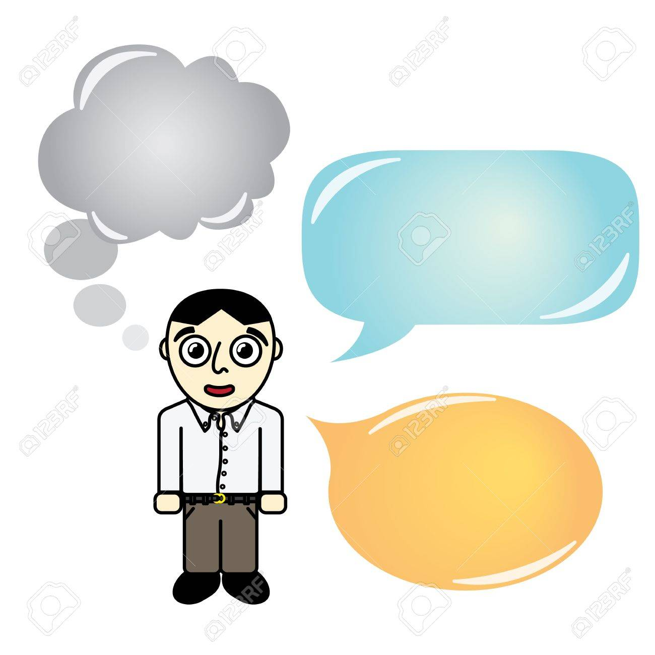 Cartoon man with different type of Talking Bubble Stock Vector - 16922112